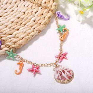 joyería caliente venta de modelos marinos de color caramelo concha de mar con estrellas de mar collar colgante nihaojewelry al por mayor NHJQ215064