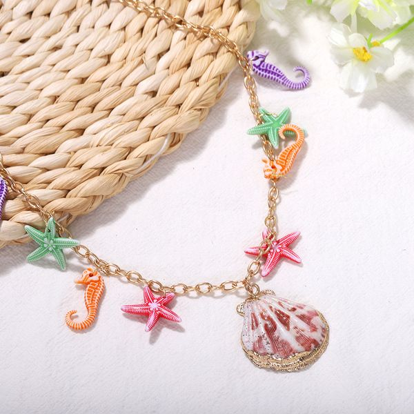 hot-selling jewelry candy-colored marine models shell seahorse starfish pendant necklace   nihaojewelry wholesale  NHJQ215064