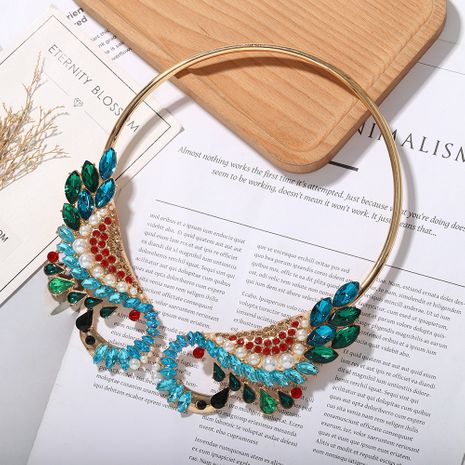 New   fashion  colorfut full of diamond alloy  peacock shape necklace  wholesale NHJQ215081's discount tags