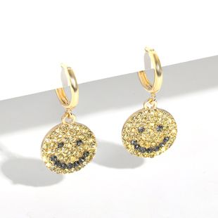 korean new  fashion full of diamond Smiley  retro earrings nihaojewelry wholesale NHJQ215084's discount tags