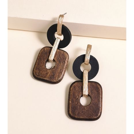 New simple  geometric wood alloy earrings creative retro simple classic solid color wood earrings nihaojewelry wholesale NHJJ215097's discount tags