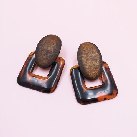 nouveau mode boucles d'oreilles en bois résine géométrique créatif rétro simple classique classique couleur unie boucles d'oreilles en gros NHJJ215098's discount tags