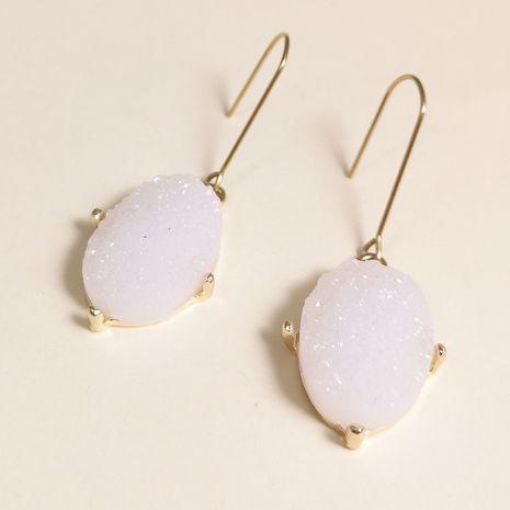nouveau simple alliage résine pendentif ovale goutte d'eau forme boucles d'oreilles nihaojewelry gros NHJJ215102's discount tags