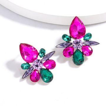 fashion new  exaggerated alloy diamond rhinestone full diamond geometric earrings  retro super flash fairy earrings  NHJE215105