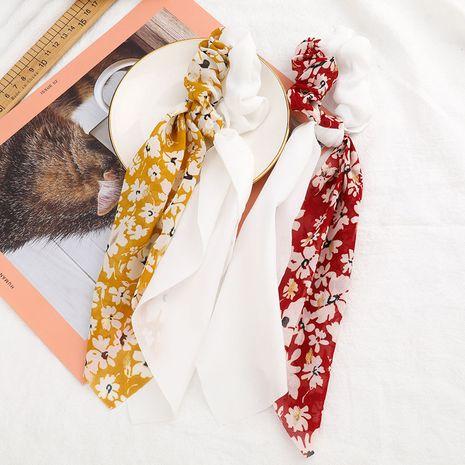 Mode coréenne mignon fleur imprimé tissu mousseline de soie fil cheveux corde flottant serviette gland bon marché chouchous en gros NHJE215113's discount tags
