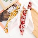 Korean fashion cute  flower printed fabric chiffon yarn  hair rope   floating towel tassel cheap scrunchies wholesale NHJE215113