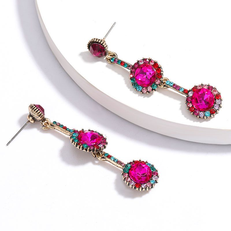 new fashion multi-layer round rhinestones and diamonds long earrings nihaojewelry wholesale NHJE215117