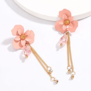 spring  new  fashion   alloy spray paint flower acrylic  long earring nihaojewelry wholesale NHJE215119's discount tags