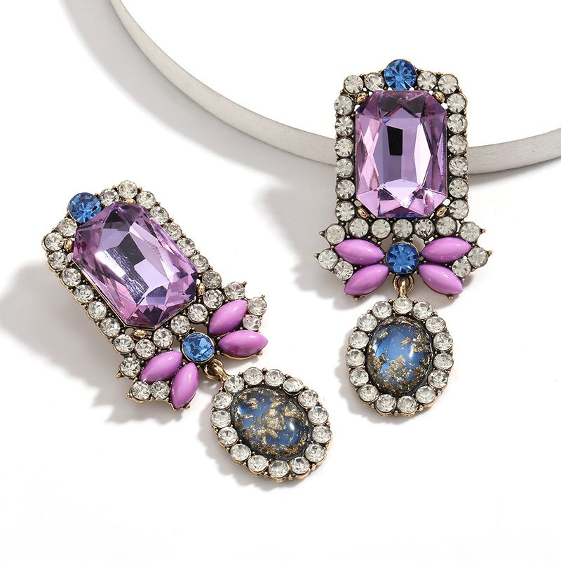 Fashion national style  exaggerated glass rhinestones diamonds inlaid gold foil resin earrings wholesale NHJE215121