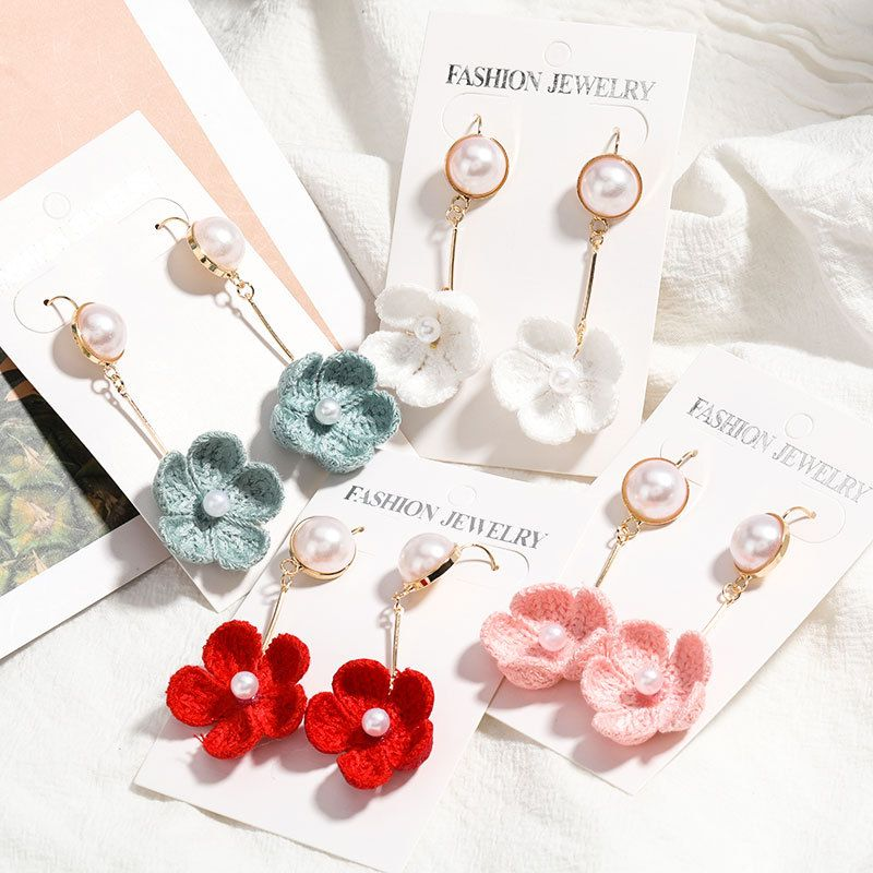 fashion alloy inlaid pearl cotton thread flowers and flowers  Korean earrings nihaojewelry wholesale  NHJE215123