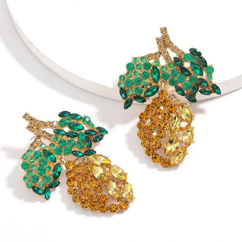 Fashion summer fruit wind mango shape rhinestone diamond earrings for women nihaojewely wholesale NHJE215125