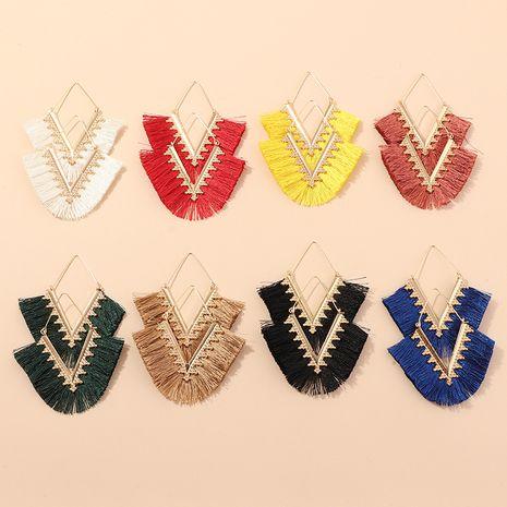 tassel earrings nihaojewelry wholesale ethnic style geometric triangle tassel earrings fashion multicolor V-shaped earrings NHNZ215142's discount tags
