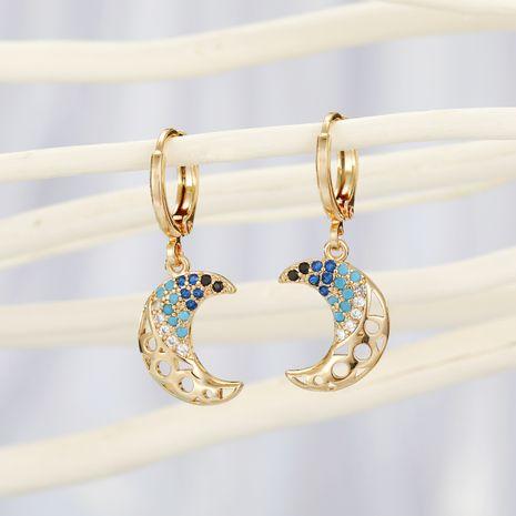 mode cuivre boucle d'oreille nihaojewelry gros micro-set lune boucles d'oreilles creux zircon boucles d'oreilles délicat diamant boucles d'oreilles NHGO215146's discount tags
