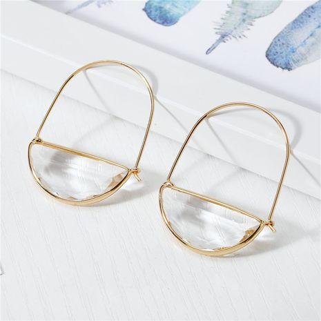 Nuevos pendientes de cristal de Corea pendientes de cristal semicirculares pendientes de hadas transparentes salvajes nihaojewelry al por mayor NHGO215150's discount tags