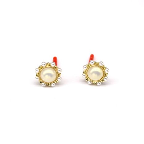 boucles d'oreilles nihaojewelry gros 925 argent rond perle boucles d'oreilles fée sauvage boucles d'oreilles fines résine boucles d'oreilles NHGO215155's discount tags