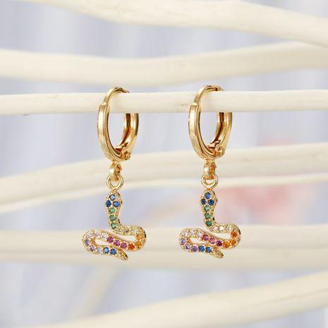 fashion copper earring nihaojewelry wholesale micro-inserted snake ear ring animal zircon earrings earrings delicate diamond earrings small earrings NHGO215156's discount tags