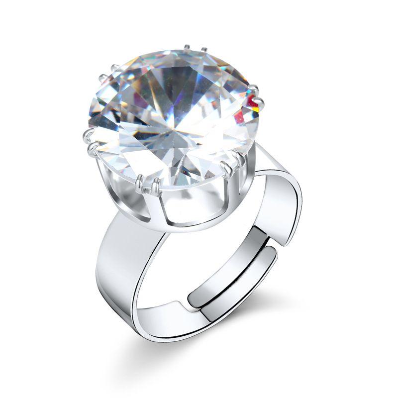 new simple fashion large crystal zirconium ring diamond adjustable ring nihaojewelry wholesale NHGO215161