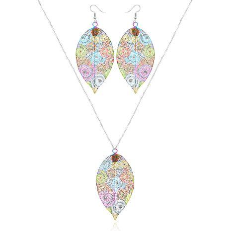 mode coloré feuille boucle d'oreille nihaojewelry gros collier ensemble impression boucles d'oreilles en métal NHGO215167's discount tags