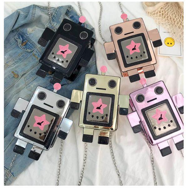 New fashion funny wild cartoon robot chain single shoulder  square bag  for women  wholesale NHPB214945