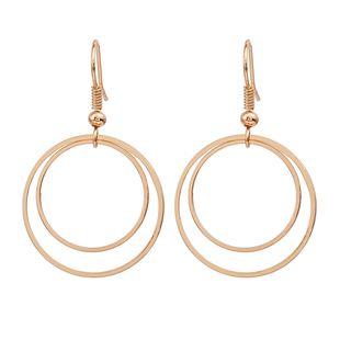 Pendientes redondos calientes nihaojewelry pendientes geométricos al por mayor de doble círculo pendientes pendientes de plata chapados en oro niñas NHMO215177's discount tags