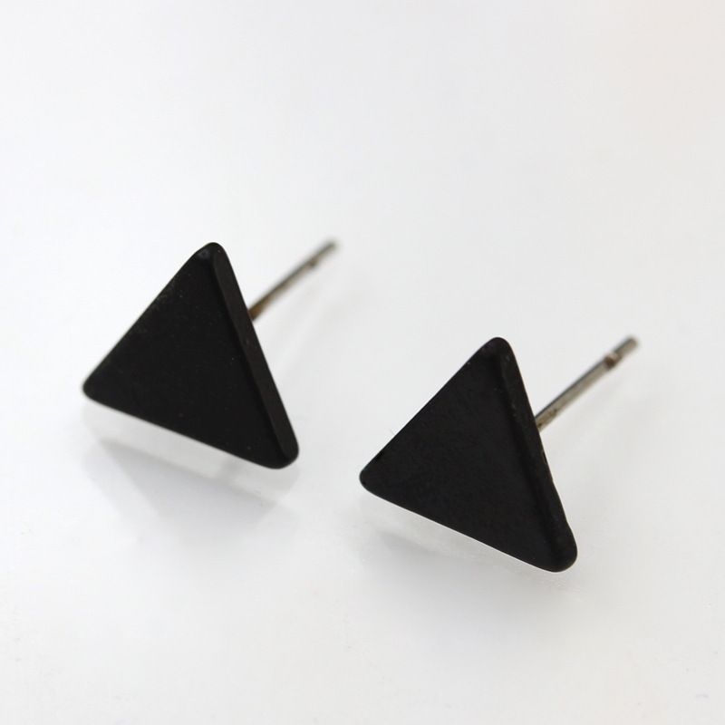 hot selling geometric triangle earrings ear pin gold-plated silver black environmental protection alloy earrings  nihaojewelry wholesale NHMO215178