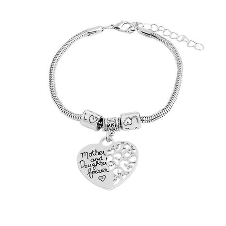 simple new  letters mother and daughter forever heart-shaped tag bracelet  nihaojewelry wholesale NHMO215181's discount tags