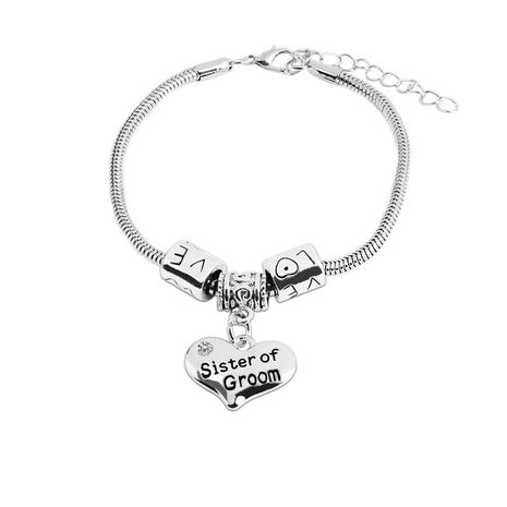 simple new fashion personality fashion lettering love pendant bracelet Sister of bride Groom bracelets nihaojewelry wholesale NHMO215194's discount tags