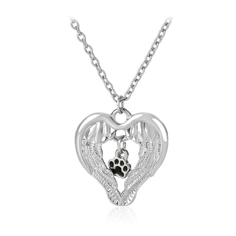 fashion creative fashion love wings wing empty dog paw pendant necklace  nihaojewelry wholesale NHMO215199