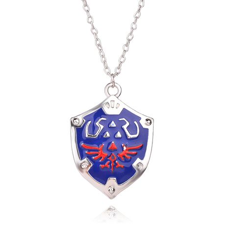 fashion  dripping oil wings shield pendant necklace unisex Zelda logo pendant necklace nihaojewelry wholesale NHMO215218's discount tags