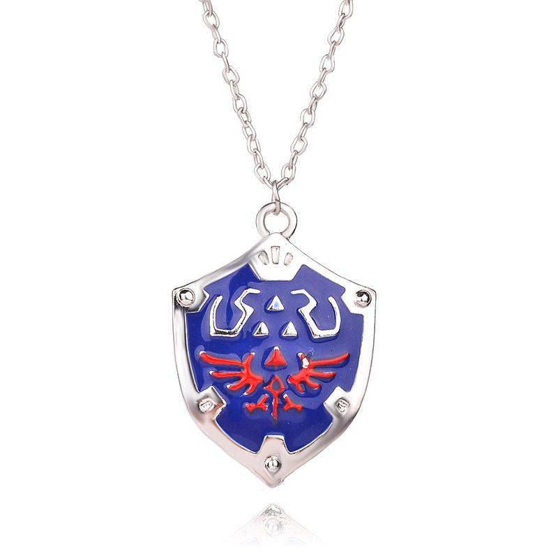fashion  dripping oil wings shield pendant necklace unisex Zelda logo pendant necklace nihaojewelry wholesale NHMO215218