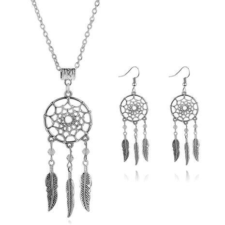 mode simple chaîne de clavicule personnalité dream catcher plume pendentif collier boucle d'oreille ensemble nihaojewelry en gros NHMO215233's discount tags