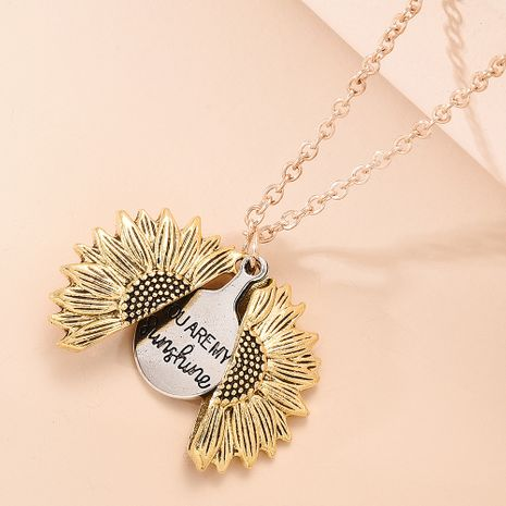 retro creative necklace  personality hip-hop openable sunflower pendant necklace nihaojewelry wholesale NHMD215242's discount tags