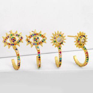 Simple nueva moda de diamantes de cobre sol flor pendientes micro-set color circón pendientes en forma de C nihaojewelry al por mayor NHAS215250's discount tags
