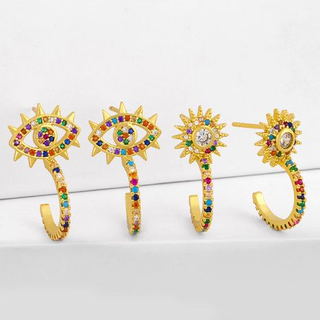simple new fashion  copper diamond sun flower earrings micro-set color zircon C-shaped earrings nihaojewelry wholesale NHAS215250's discount tags