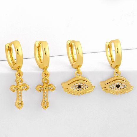 nouveau simple plein diamant croix boucles d'oreilles boucles d'oreilles personnalité originale zircon boucles d'oreilles nihaojewelry gros NHAS215251's discount tags