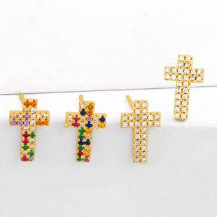 new simple Cross personality full diamond cross earrings  nihaojewelry wholesale NHAS215252's discount tags