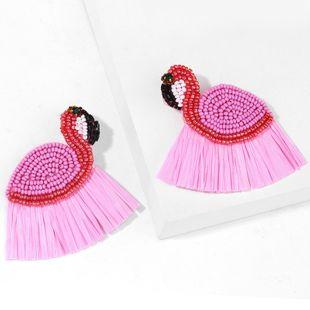 fashion  bohemian earrings wind flamingo earrings hand-woven rice bead earrings  nihaojewelry wholesale NHAS215253's discount tags