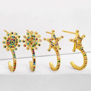 Nueva moda pendientes de arco iris simple estrella de cinco puntas pendientes de cobre nihaojewelry al por mayor NHAS215254's discount tags