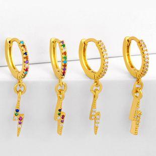 Moda simple relámpago pendientes de cobre pendientes de diamantes nihaojewelry al por mayor NHAS215259's discount tags