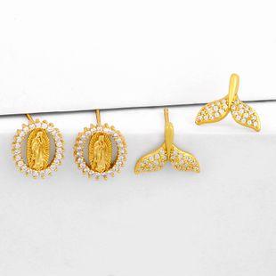 new popular  Virgin Mary earrings fishtail  copper earrings nihaojewelry wholesale NHAS215260's discount tags