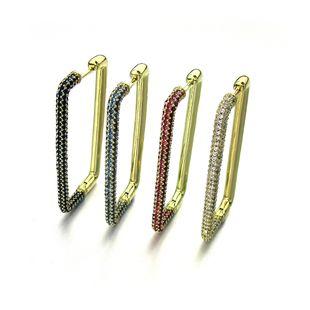 Nuevos pendientes geométricos rectangulares pendientes de cobre circón micro incrustaciones de circón color exquisitos pendientes niñas nihaojewelry venta al por mayor solo NHLJ215261's discount tags