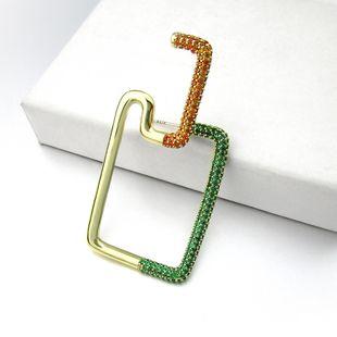 new colorful zircon earring girl fashion earrings copper geometric earrings women nihaojewelry wholesale single NHLJ215263's discount tags