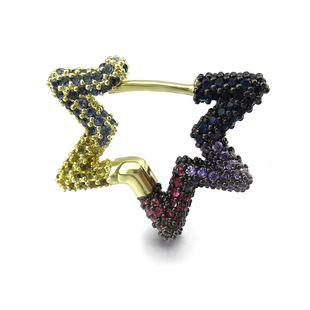 New zircon copper earrings girls  summer rainbow heart-shaped color zircon love single earring five-star earrings single NHLJ215264's discount tags
