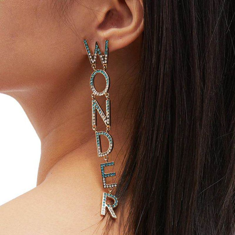 fashion  new  claw chain letters WONDER WOMAN rhinestones diamond asymmetric earrings nihaojewelry wholesale NHJE215270