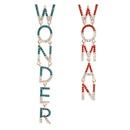 fashion  new  claw chain letters WONDER WOMAN rhinestones diamond asymmetric earrings nihaojewelry wholesale NHJE215270