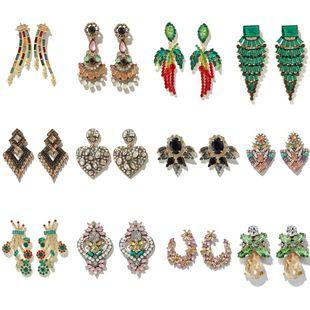 pendientes de diamantes exagerados de moda nihaojewelry diamantes de aleación al por mayor deja pendientes de amor NHGY215273's discount tags