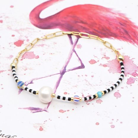 Miyuki bracelet  simple glazed flower beads Pearls natural freshwater pearl large gold chain ethnic style bracelet NHGW215290's discount tags