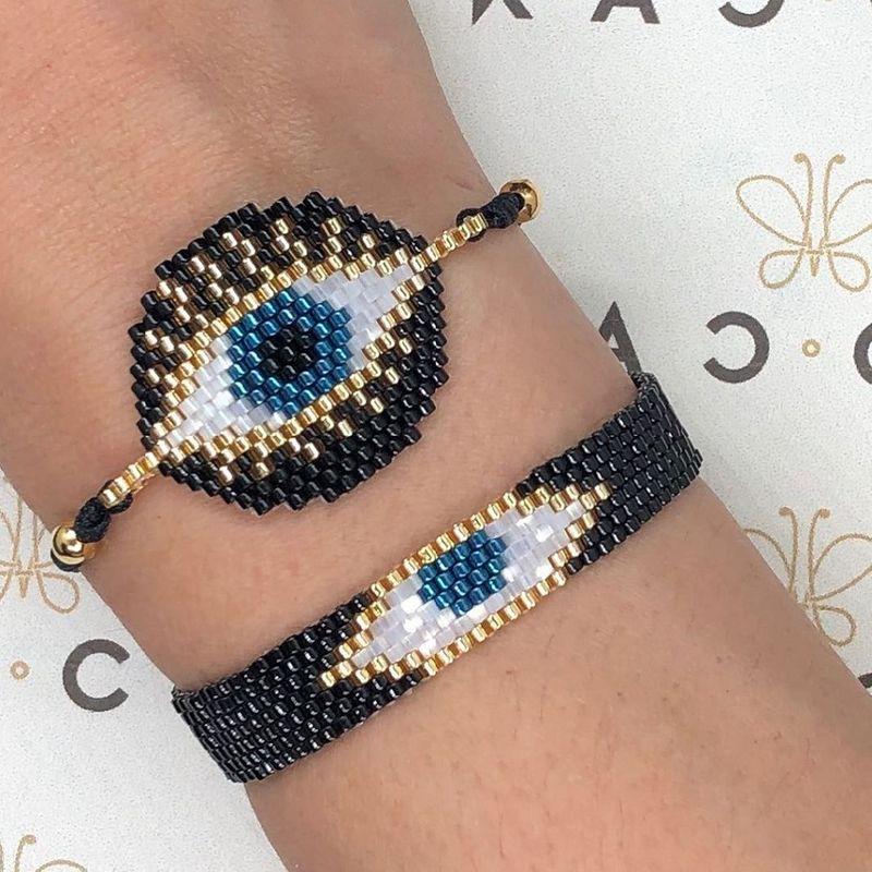 Miyuki rice beads woven Turkish evil eye female bracelet  totem ethnic style simple bracelets wholesale NHGW215293