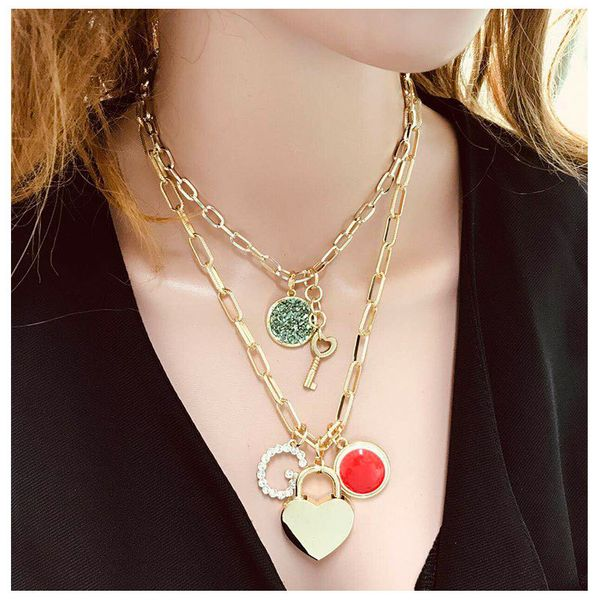 hot sale accessories wild multi-layer metal chain love lock DIY pendant necklace nihaojewelry wholesale NHCT215317