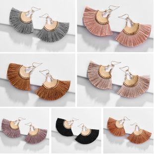 tassel fan earrings nihaojewelry wholesale fashion alloy fan-shaped tassel tassel suture earrings NHLU215320's discount tags